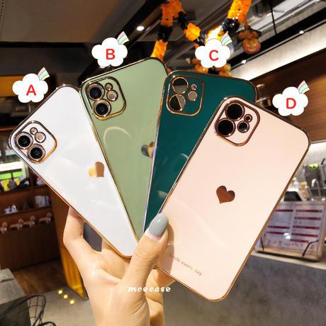 ハート柄 iphone11/12promaxケース 金色枠 アイフォンSE/xsカバー  ツヤあり耐衝撃頑丈スマホケースM290