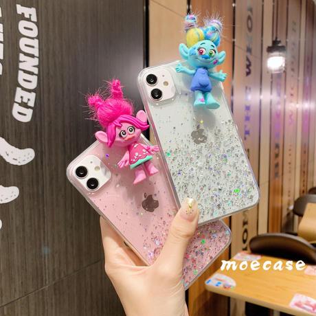 トロールズスマホケース iphone11/8/SE2クリアケース キャラクターTrolls iphone12mini/Xs携帯カバー キラキラ ラメ入りM246