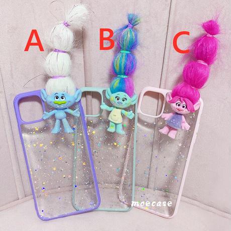 iphoneSE第2世代ケース トロールズ iphone12mini/11proカバー Trollsキャラクター 髪多い長い DIY 青紫ピンク 可愛いM214