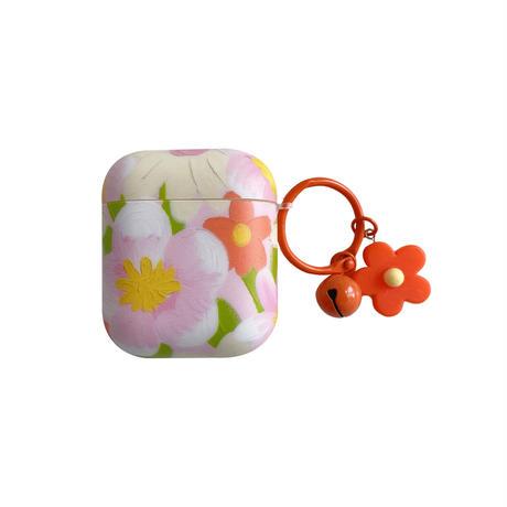 赤ピンク色花柄  airpodsproケース 花柄コーデ airpodsカバー   リング付 ガールズ向けのソフトケースM764