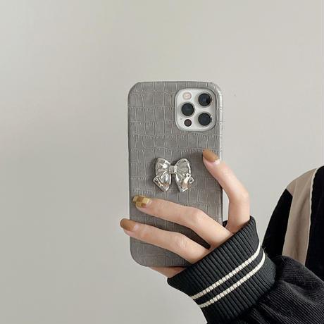 リボン付きワニ柄 アイフォン13pro/12promaxカバー 皮製ハード  iphone11/XSケース  お上品 かわいい M1125