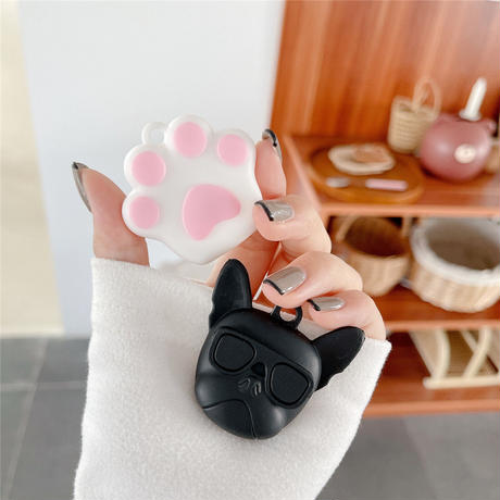 ブルドッグ AirTag ケース  キュート猫の爪 ベル エアタグ保護カバー 高品質ソフトケース  紛失防止M502