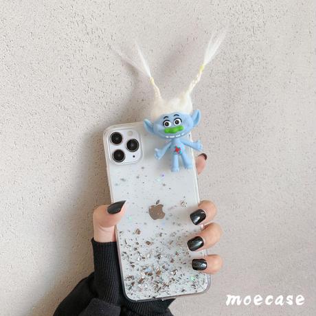 トロール人形が付いたiphone12pro/11ケース  キラキラ オシャレ立体感 Troll friend iphonese2020ケース  面白いケース