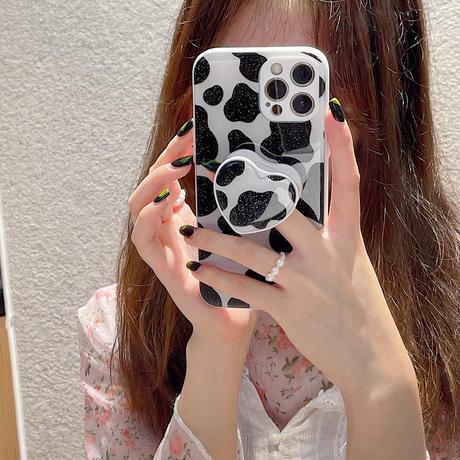 牛柄模様 iphone13pro/13promaxケース  スマホグリップ付 iphone12pro/11カバー   耐衝撃 多機能便利  M984