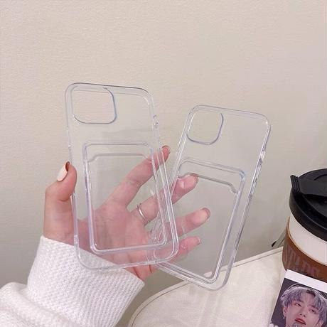 カード入れ付 iphone13mini/13promaxケース 高透明感 iphone12pro/11カバー  クリアスマホケース  頑丈M1008
