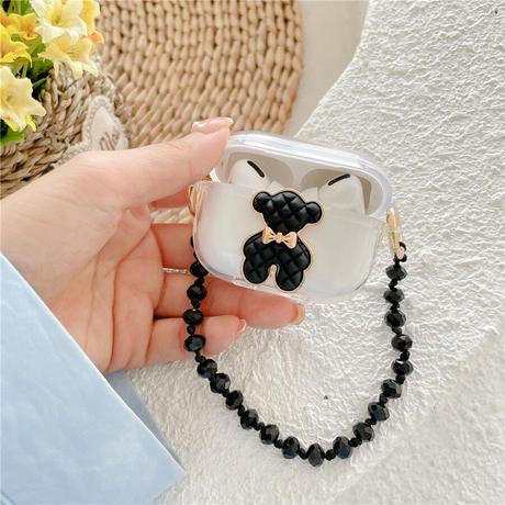 クマちゃん airpodsproケース  bear  airpodsカバー   黒色チェーン付き 高品質  クリアケース  可愛い  M578