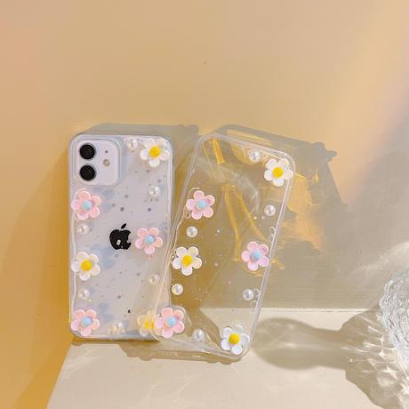 立体花・真珠  iphone13mini/13proケース 綺麗透明 iphone12mini/11proカバー  流行る インスタ映え オシャレさん向けM1145