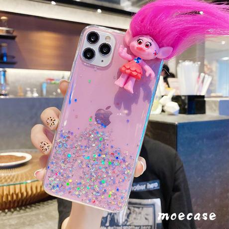 トロールズ人形  スマホケース 髪型変更 iphone12pro/11pro/seケース キラキラクリアカバー お揃い可愛い人気携帯カバーM159
