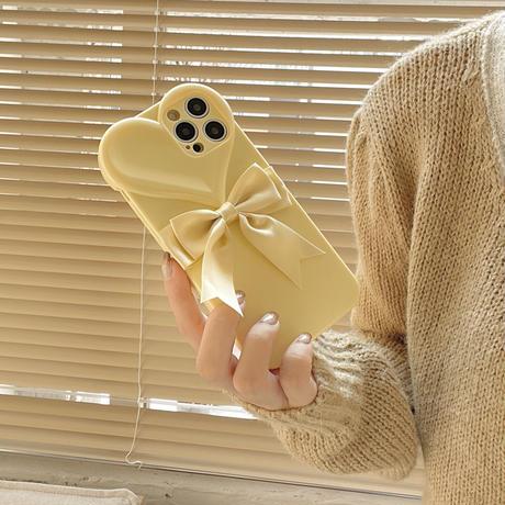 リボン付きハート型 iphone13/13promaxケース 黄色コーデ iphone11/12promaxカバー  かわいい ファッション ツヤありM1122