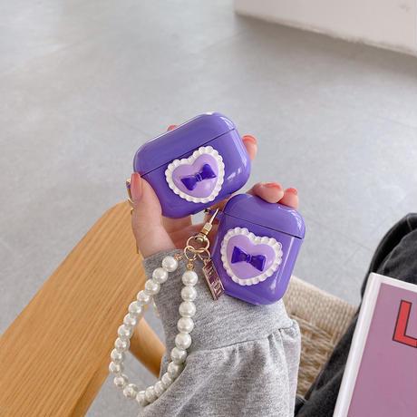 紫色 リボン  airpodsproケース 真珠ストラップ付  airpodsカバー  可愛いツヤ感あるケース   耐久性あり  頑丈  M634