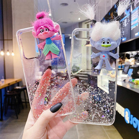 トロール人形が付いたiphone12pro/11ケース  キラキラ オシャレ立体感 Troll friend iphonese2020ケース  面白いケースM111