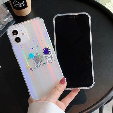宇宙飛行士 iphone12/11promaxケース  オーロラ色変えるキラキラ iphonexr/xsmaxカバー  透明感 お揃い頑丈ファッションスマホカバーM449