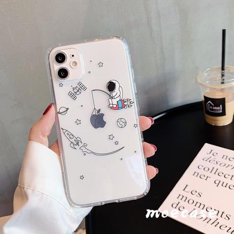 クリア宇宙飛行士spaceman iphone12プロマックスケース 透明 iphone11promax/XR/XSMAXカバー 可愛いお揃い携帯保護ケースM119