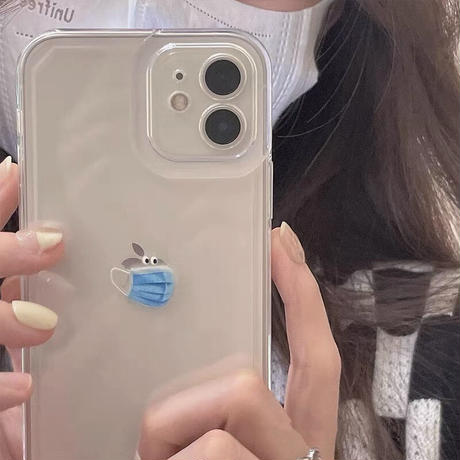 可愛いマスク iphone13mini/13promaxケース  クリア iphone12/11promaxカバー  面白い 耐衝撃 シンプルM998