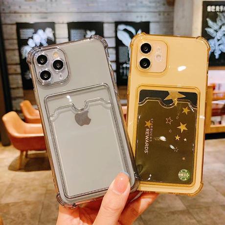 カード収納 背面ポケット iphone11/12promaxケース 薄型透明iphonexr/xsmaxカバー  耐衝撃頑丈 軽量 M575