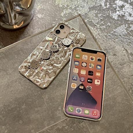 笑顔チェーン付 iphone11/12ケース アルミホイル iphonexs/SE2カバー   艶あり 個性クール 可愛いM757