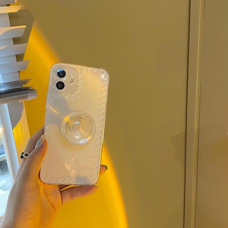 透明グリップ付  iphone12/13ケース  韓国歌手JENNIE愛用クリアiphoneSE2/XS/11カバー  スタンド機能付  頑張ソフトケース  M779