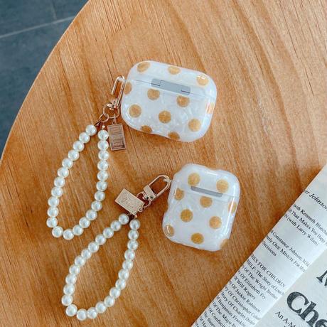 水玉模様  airpodsproケース  真珠ストラップ付  airpodsカバー   貝殻柄 頑丈 ファッションガールズにおすすめ M680