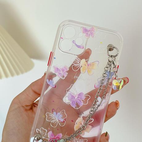 蝶々  iphone12/11ケース  おしゃれチェーン付 iphoneSE2/XS/8カバー   透明感 可愛い  インスタ人気 M582