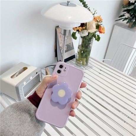 パープル  iphone12/13ケース  折り畳み式花のスマホグリップ付 iphoneSE2/XS/11カバー 卓上スタンド機能付  耐衝撃  M753