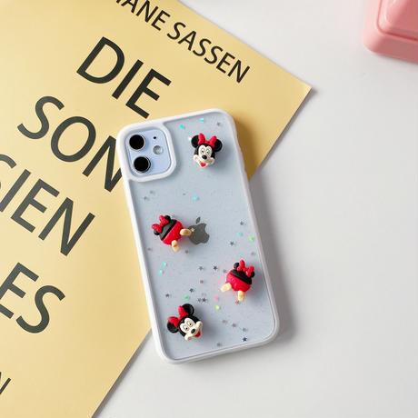 ミニーマウス iphone12mini/12proケース リス 立体キャラクターアイフォン11promax/xsmaxケース 透明クリアカバー キュート携帯ケースM150
