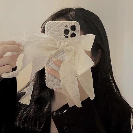 レースリボン付き iphone13pro/12proカバー 刺繡入り 可愛い  iphone11/XSケース   綺麗 ガールズに人気M1119