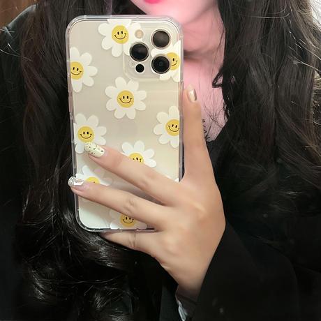 笑顔ヒナギク柄 iphone12/11ケース  スマホリングスタンド付き iphoneSE2/XS/8カバー 可愛い綺麗 頑丈 インスタ人気 M466
