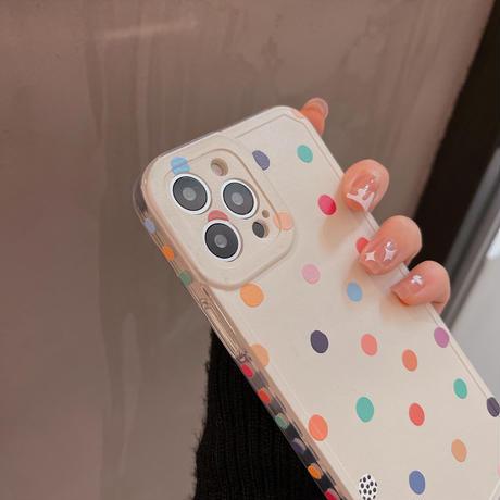 笑顔の花 スマホグリップ付 iphoneSE2/12promaxケース 水玉模様 iphonexr/xsカバー  可愛い 便利  持ちやすいM620