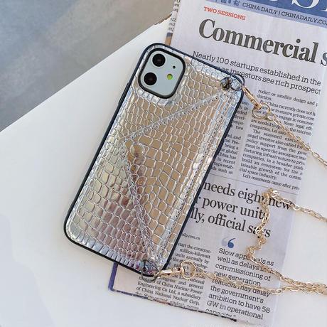 蛇柄 カード入れ付 iphone11/12promaxケース 長いチェーン付 アイフォンSE2/XSカバー  オシャレ ツヤあり 耐衝撃頑丈便利M593