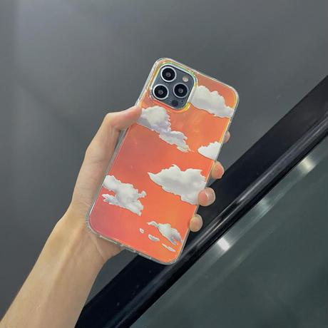 透明雲柄 iphone12/11ケース  キラキラ空柄 アイフォンSE2/XS/8カバー ツヤ感 オーロラ光るインスタ映え可愛いM423