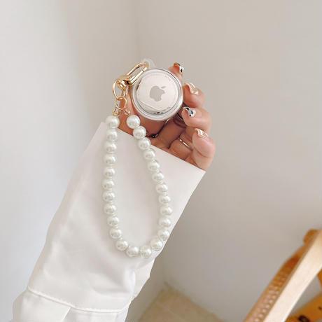 リボン 天使 AirTagケース イチゴ アボカド  シェル  エアタグカバー 真珠ストラップ付き おしゃれかわいい M486
