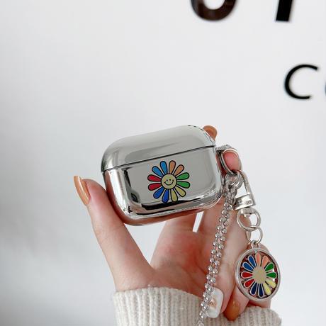 花柄 エアーポッズプロケース flowerキーホルダー airpodsproカバー 可愛い チェーン付き 銀色 ツヤ感鏡面M443