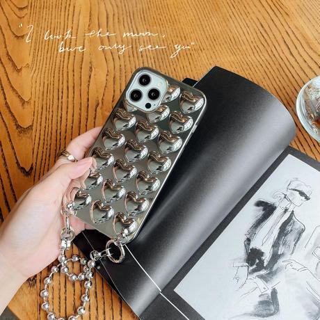 銀色ハート型 iphone12/11promaxケース 長さが調節チェーン付 iphoneSE2/XS/Xsmaxカバー 頑丈 耐衝撃 M702