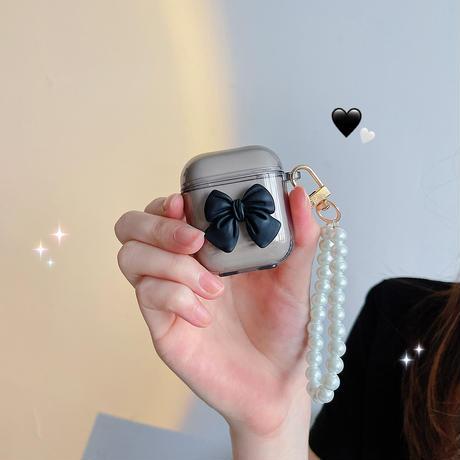 リボン 真珠ストラップ airpodsproケース  可愛い  airpodsカバー    高品質  ツヤ感あり  持ちやすい  M579