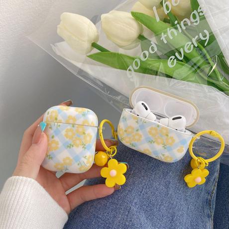 イェロー花柄  airpodsproケース 花リング付 airpodsカバー  ins 人気品 頑丈なソフトケースM763