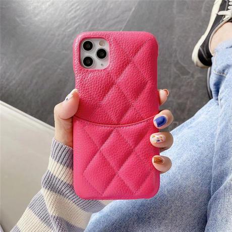 本革製カード入れ付 iPhone13proケース   高品質 菱形アイフォン12pro /11カバー  高級感 耐久性あり ファッションM1129