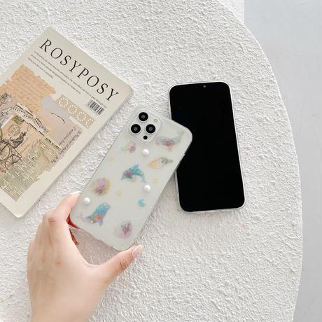 海イルカ iphone12/11ケース 真珠付き  iphoneSE2/XS/XRカバー おしゃれキラキラしたクリアスマホケース インスタ人気M427