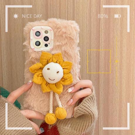 笑顔のひまわり iphone13proカバー 暖かい iphone12pro/11promaxケース  保護力強い 手さわりいい ふわふわ 可愛い M1131