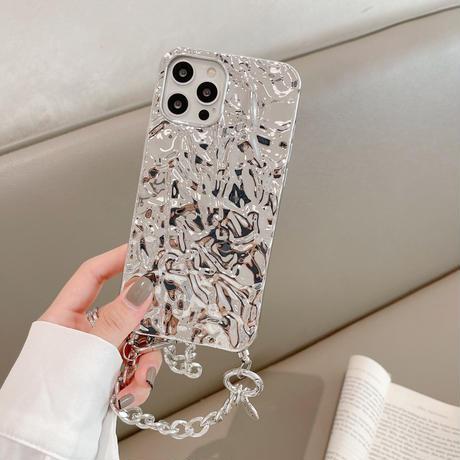 銀色アルミホイル iphone12/11promaxケース キラキラ アルミ箔 iphoneSE2/XS/Xsmaxカバー チェーン付き おしゃれ M557