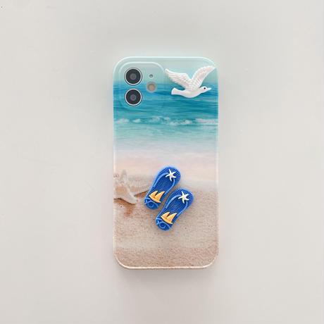 サンダル iphone12/11ケース  ビーチ 海 デコ iphoneSE2/XS/8カバー  可愛い 夏向けスマホカバー 面白い M580