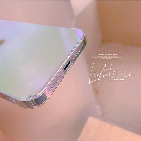 オーロラ色光る iphone13pro/13promaxケース  綺麗透明 iphone12pro/11カバー  グラデーションカラーM991