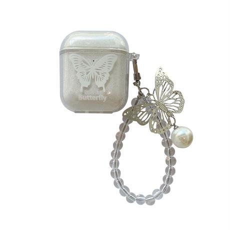 透かし雕り蝶  airpodsproケース 真珠付butterfly airpodsカバー   ストラップ付  ガールズ向けのキラキラクリアケースM765