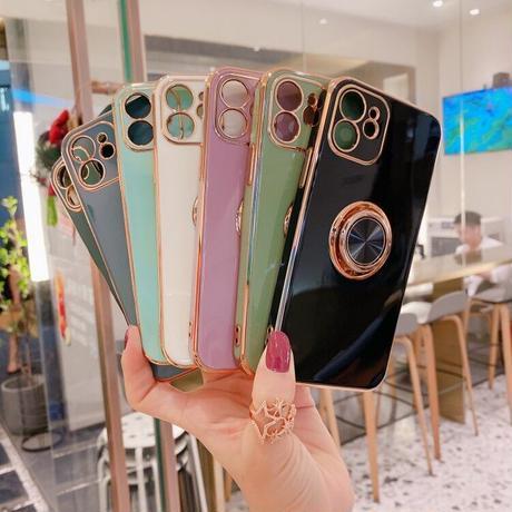 パンカーリング付 iphone13/12proケース ツヤ感ある金色枠 iphoneXS/SE2カバー  耐久性耐衝撃頑丈なソフトケース 落下防止 スタンド機能付きM320