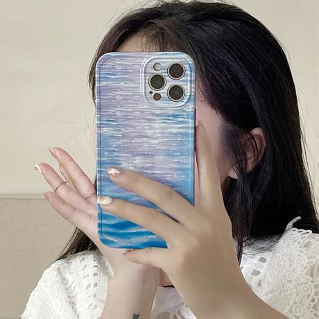 波柄  iphone12/11proケース  ツヤ感グラデーション iphoneSE2/XS/8カバー  頑丈 インスタ人気  手触りいい M571