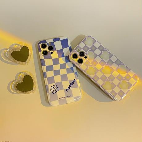 ハート型ミラーグリップ付  iphone12/11ケース  チェック柄 iphonexs/se2カバー   可愛い便利  頑丈艶ありM768