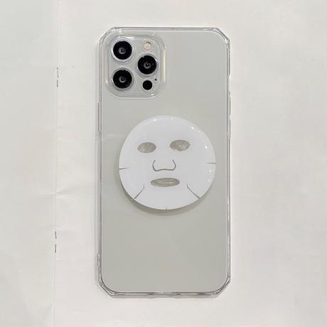 フェイスパック グリップ付 iphone13pro/12ケース   美容マスク クリア耐衝撃iphoneXR/11カバー   頑丈  多機能M952
