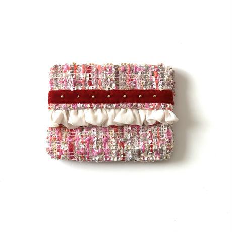 ティッシュケース( Japan  pink colorful Jewel  tweed・red  ribbon)