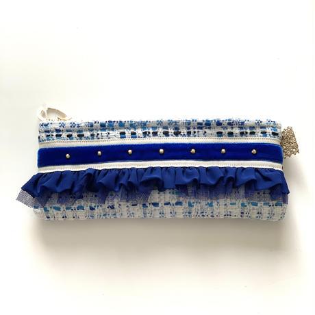 ペンケース(Japan  White blue tweed・  White blue ribbon)