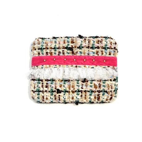 ティッシュケース(France colorful tweed・ pink ribbon)