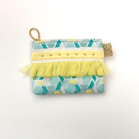 ポーチミニ(西陣織 ・sky blue・yellow white yellow ribbon )